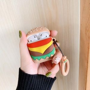 NEW Burger Airpods Silicone Case W/Ring Strap